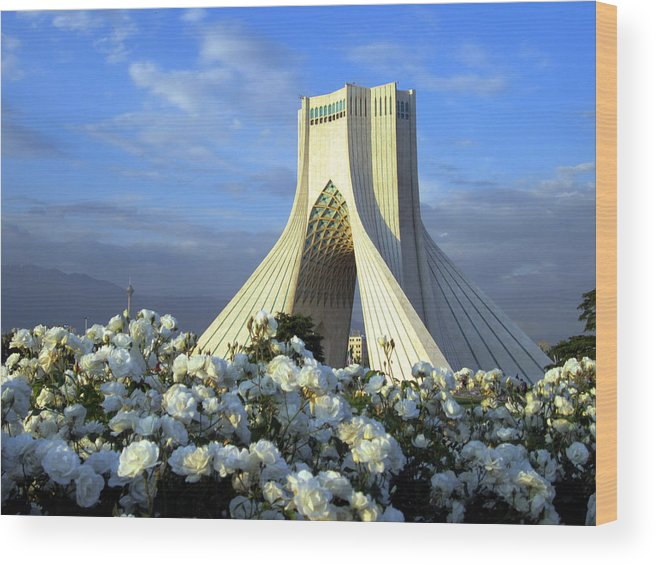 Tranquility Wood Print featuring the photograph Azadi Tower In Tehran by Photo By David Stanley
