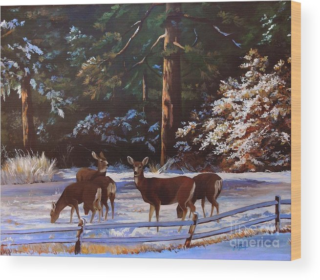 Deer Wood Print featuring the painting Backyard Visitors by Suzanne Schaefer