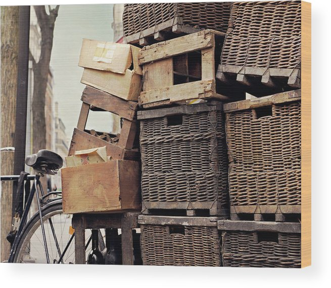Outdoors Wood Print featuring the photograph Baskets In Paris by Sharon Lapkin