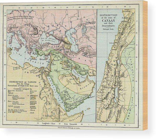 Arabia Wood Print featuring the digital art Biblical Map by Duncan1890