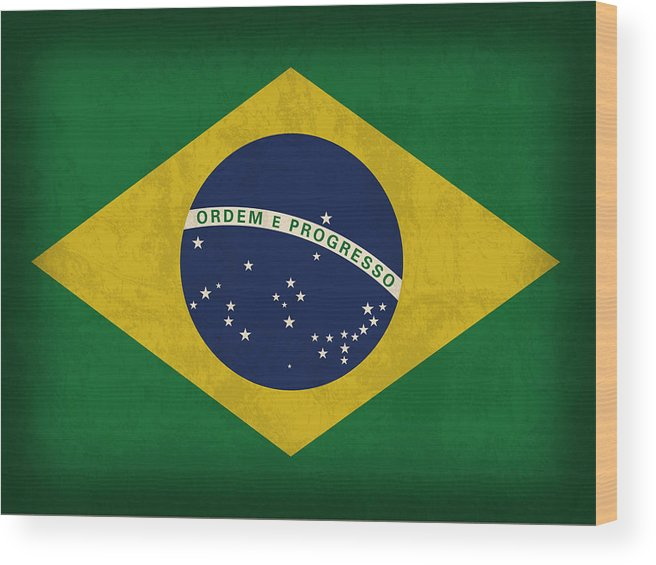 Brazil Flag Wood Print featuring the mixed media Brazil Flag Vintage Distressed Finish by Design Turnpike