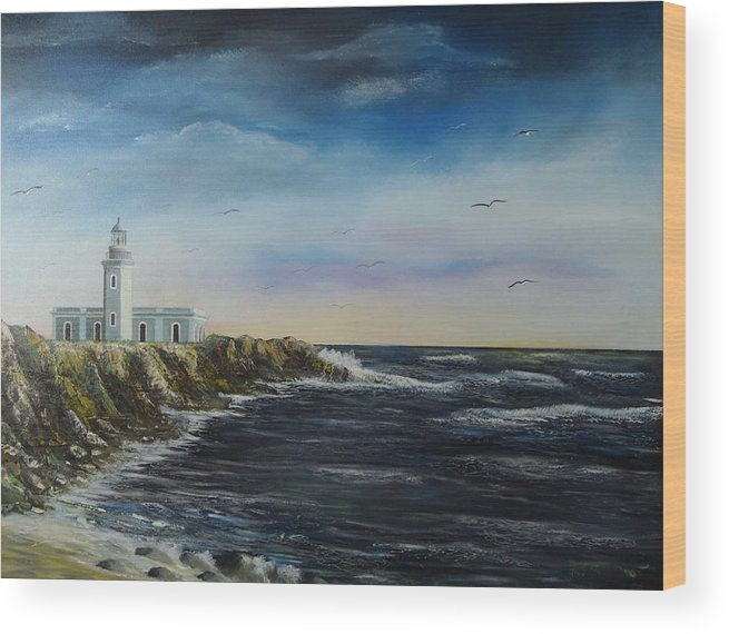 Cabo Rojo Lighthouse Wood Print featuring the painting Cabo Rojo Lighthouse by Tony Rodriguez
