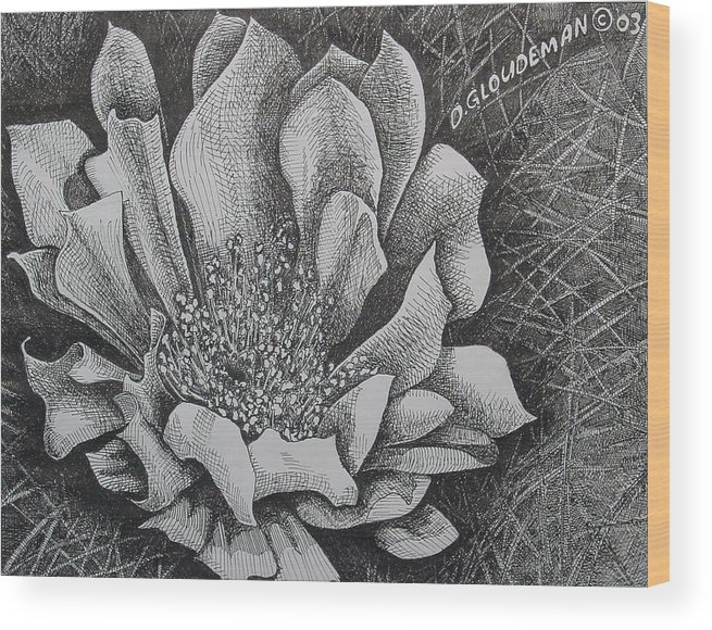 Flowers Wood Print featuring the drawing Cactus Flower by Denis Gloudeman