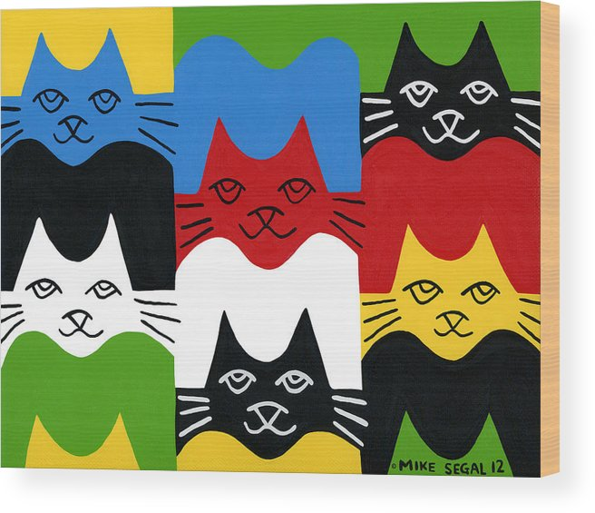 Cat Wood Print featuring the painting Cats by Mike Segal