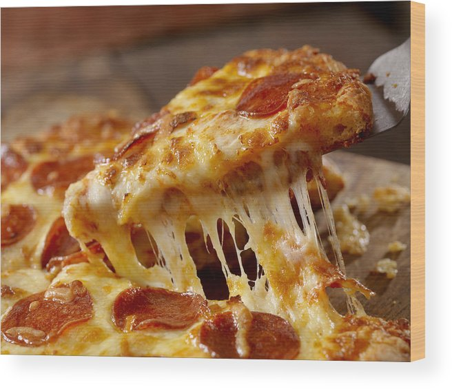 Unhealthy Eating Wood Print featuring the photograph Cheesy Pepperoni Pizza by LauriPatterson