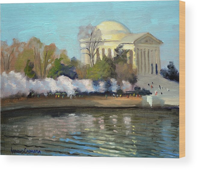 Washington Dc Wood Print featuring the painting Cherry Blossoms Morning - Washington DC by Armand Cabrera