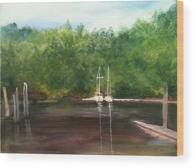 Plein Aire Wood Print featuring the painting Curtain's Marina by Sheila Mashaw