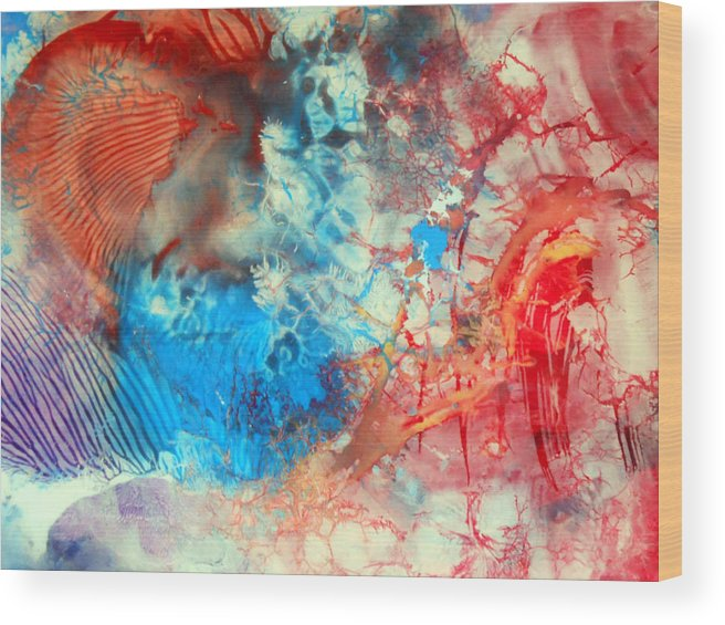 Decalcomaniac Wood Print featuring the painting Decalcomaniac Colorfield Abstraction Without Number by Otto Rapp