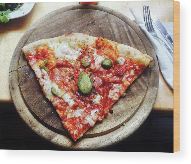 Unhealthy Eating Wood Print featuring the photograph Directly Above Shot Of Pizza Slice by Svitlana Pavelko / Eyeem