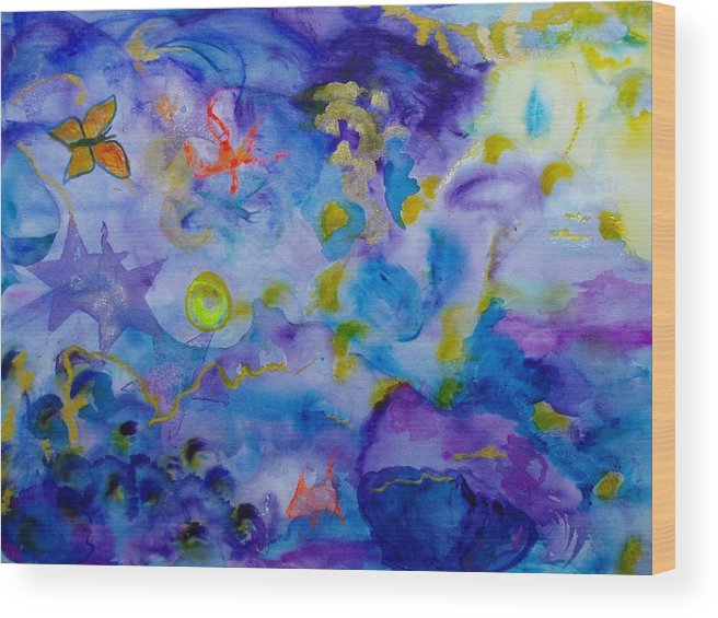 Watercolor Wood Print featuring the painting Dreams by Phoenix Simpson
