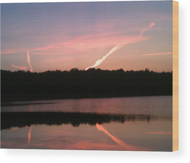 Dusk Wood Print featuring the photograph Dusk in the Poconos by Sheila Mashaw