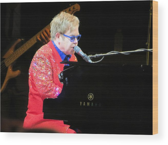 Elton John Wood Print featuring the photograph Elton John live by Aaron Martens