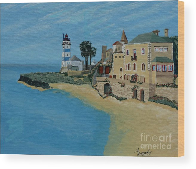 Lighthouse Wood Print featuring the painting European Lighthouse by Anthony Dunphy