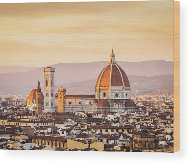 Campanile Wood Print featuring the photograph Florences Cathedral And Skyline At by Filippobacci