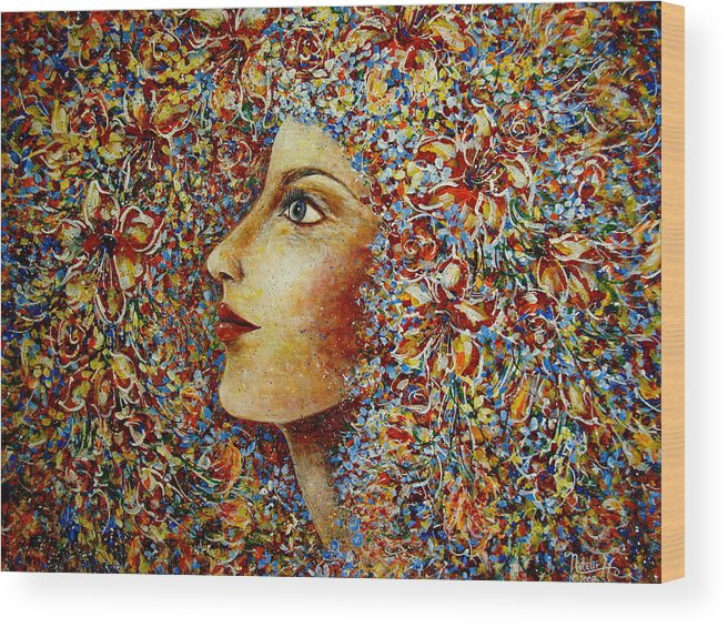 Flower Goddess Wood Print featuring the painting Flower Goddess. by Natalie Holland