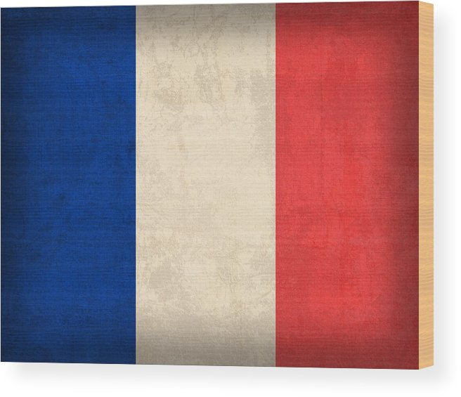 France Flag Paris Marseilles French Europe Wood Print featuring the mixed media France Flag Distressed Vintage Finish by Design Turnpike