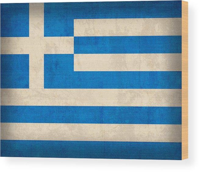 Greece Greek Athen Hellenic Ruins Acropolis Flag Vintage Distressed Finish Wood Print featuring the mixed media Greece Flag Vintage Distressed Finish by Design Turnpike