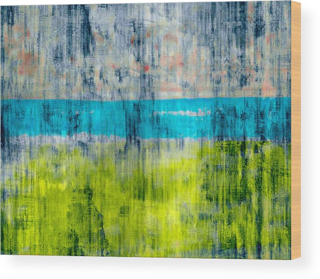 Color Wood Print featuring the digital art Green and blue by Joseph Ferguson