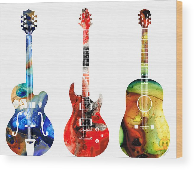 Guitar Wood Print featuring the painting Guitar Threesome - Colorful Guitars By Sharon Cummings by Sharon Cummings