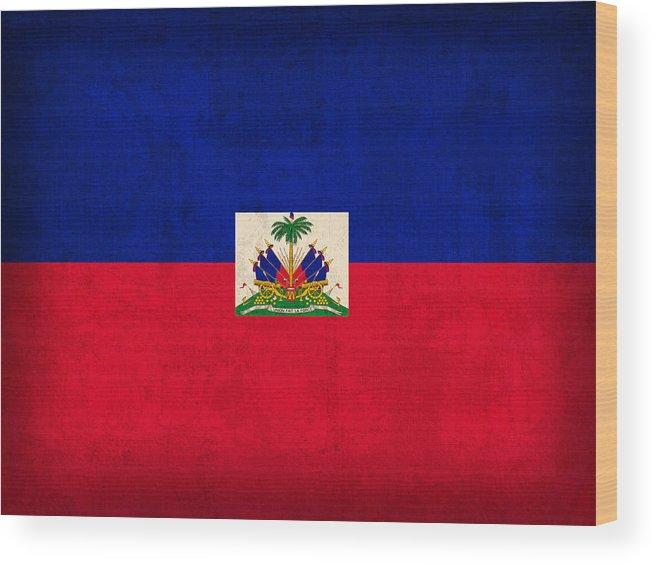 Haiti Wood Print featuring the mixed media Haiti Flag Vintage Distressed Finish by Design Turnpike