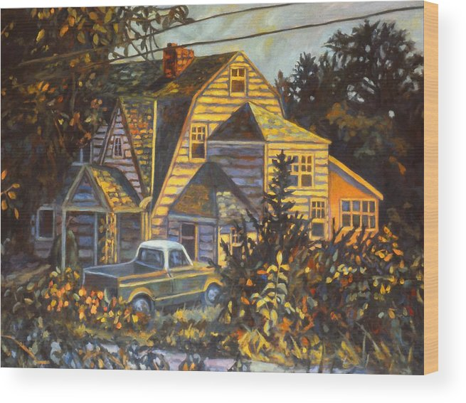 Kendall Kessler Wood Print featuring the painting House in Christiansburg by Kendall Kessler