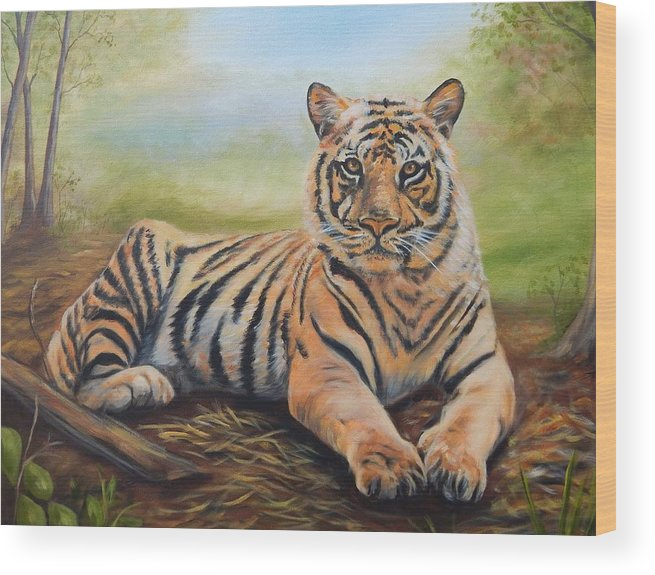 Tiger Wood Print featuring the painting In Repose by Anne Kushnick