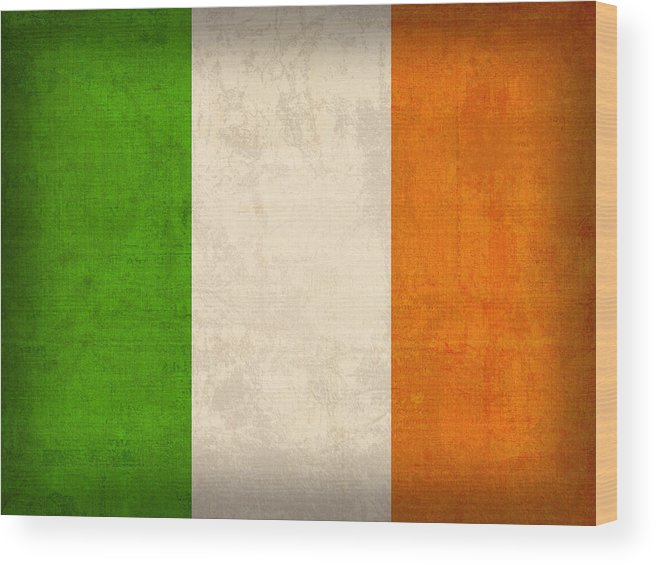 Ireland Flag Vintage Distressed Finish Dublin Irish Green Europe Luck Wood Print featuring the mixed media Ireland Flag Vintage Distressed Finish by Design Turnpike
