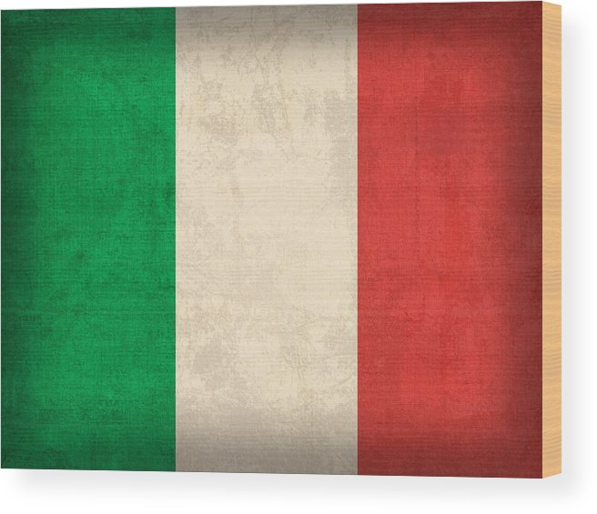 Italy Flag Vintage Distressed Finish Rome Italian Europe Venice Wood Print featuring the mixed media Italy Flag Vintage Distressed Finish by Design Turnpike