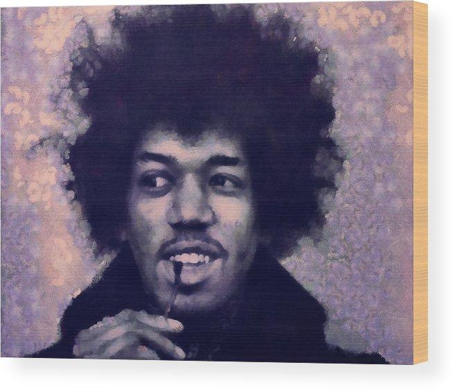 Jimi Hendrix Wood Print featuring the painting Jimi by Janice MacLellan