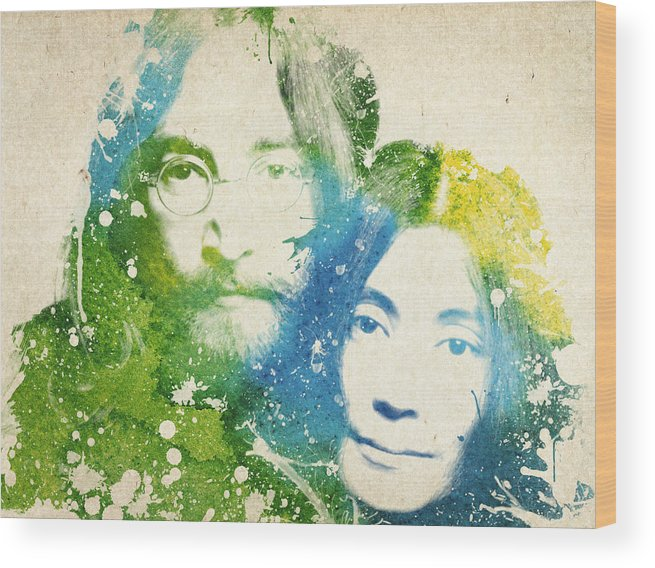 The Beatles Wood Print featuring the painting John Lennon and yoko ono by Aged Pixel