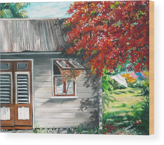 Caribbean Painting Typical Country House In The Caribbean Or West Indian Islands With Flamboyant Tree Tropical Painting Wood Print featuring the painting Little West Indian House 1 by Karin Dawn Kelshall- Best