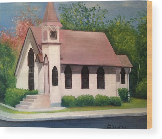 Little White Church Wood Print featuring the painting Little White Church by Sheila Mashaw