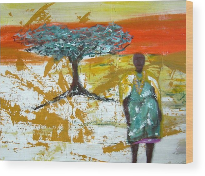 Figure Wood Print featuring the painting Mama Africa by Joseph Ferguson