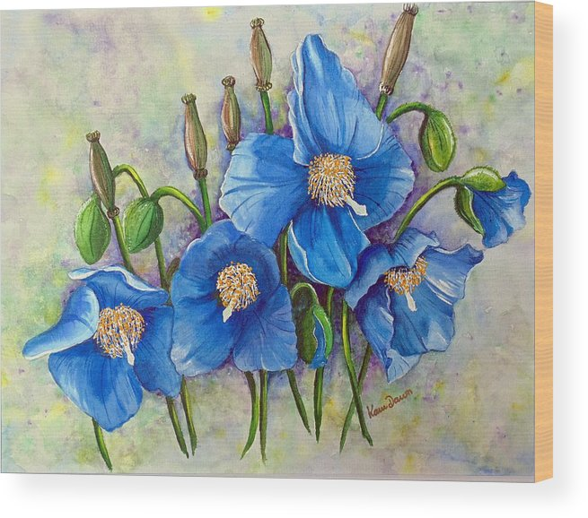 Blue Hymalayan Poppy Wood Print featuring the painting MECONOPSIS  Himalayan Blue Poppy by Karin Dawn Kelshall- Best
