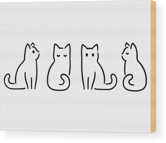 Pets Wood Print featuring the drawing Minimal cat drawing by Sudowoodo