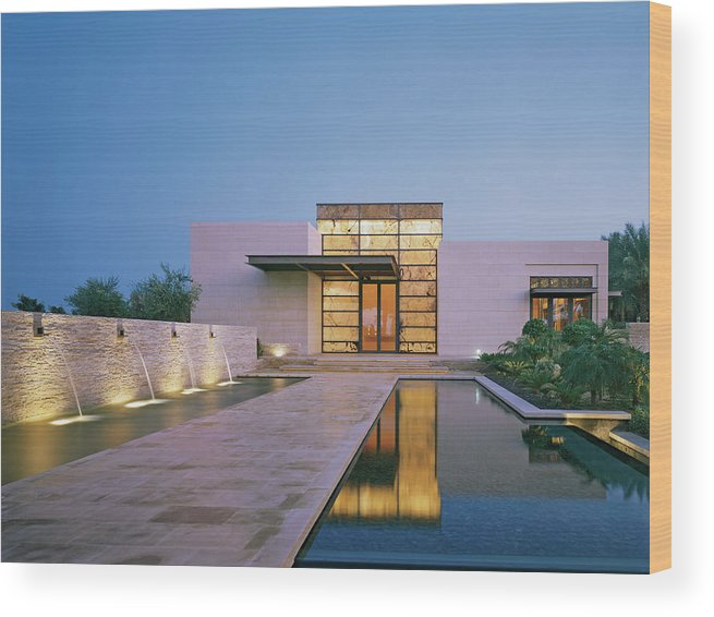 No People Wood Print featuring the photograph Modern Building With Pool At Dusk by Erhard Pfeiffer