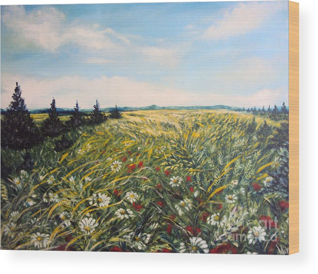 Nature Original Paintings Wood Print featuring the painting Nature Landscape Field Poppies Daises Grass Pines Original Art by Drinka Mercep