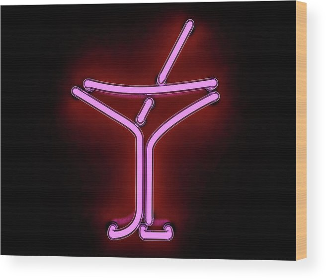 Empty Wood Print featuring the photograph Neon Cocktail City Sign Signboard. 3d by Polesnoy