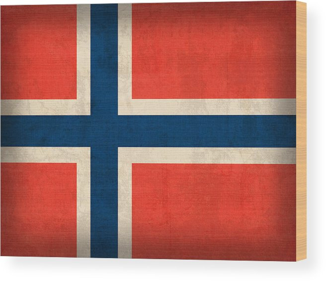 Norway Flag Distressed Vintage Finish Norwegian Oslo Scandinavian Europe Country Nation Wood Print featuring the mixed media Norway Flag Distressed Vintage Finish by Design Turnpike