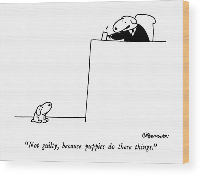 not Guilty Wood Print featuring the drawing Not Guilty, Because Puppies Do These Things by Charles Barsotti