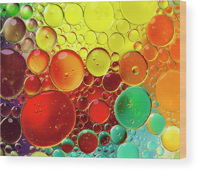 Full Frame Wood Print featuring the photograph Oil Bubbles In Water by Ramoncovelo