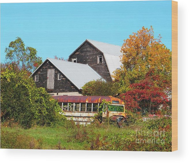 Autumn Wood Print featuring the photograph Old Bus and Barns by Linda Marcille