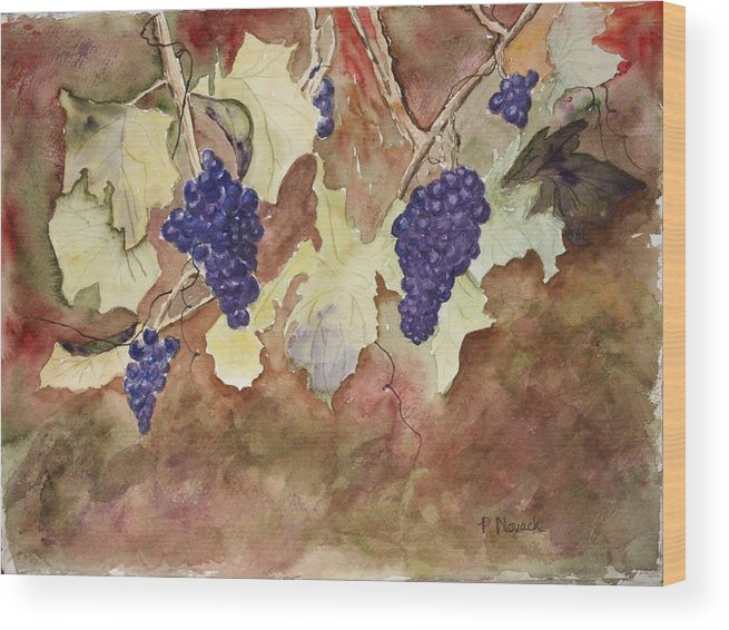 Grapes Wood Print featuring the painting On The Vine by Patricia Novack