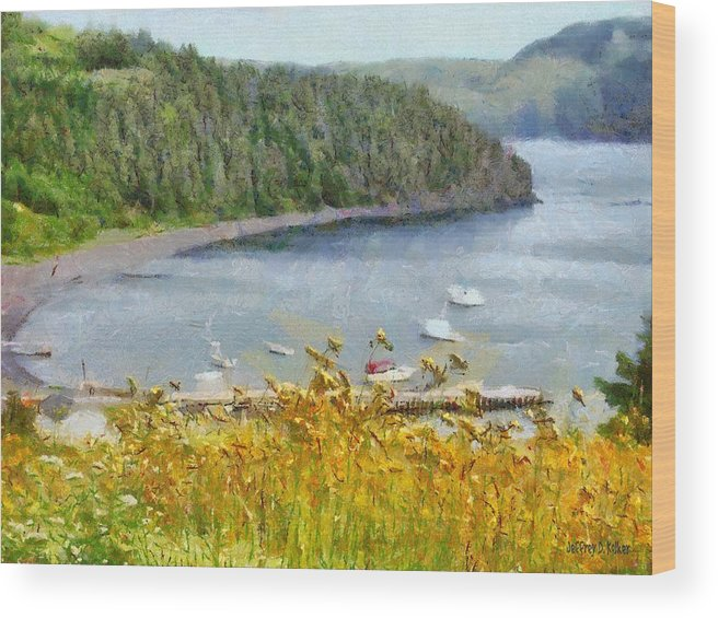 Canadian Wood Print featuring the painting Overlooking the Harbor by Jeffrey Kolker