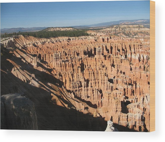 Mountians Wood Print featuring the photograph Overview At Bryce Canyon by Christiane Schulze Art And Photography