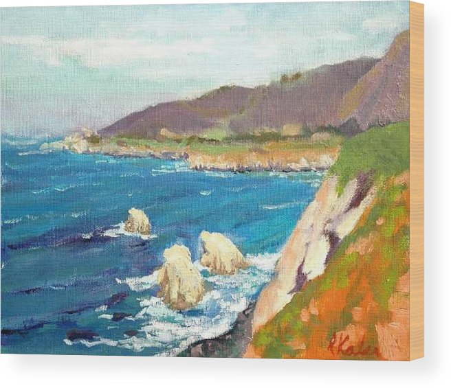 Wood Print featuring the painting Pacific Coast by Raymond Kaler