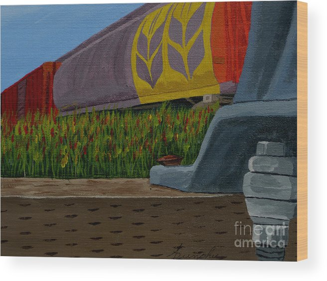Train Wood Print featuring the painting Passing the wild ones by Anthony Dunphy