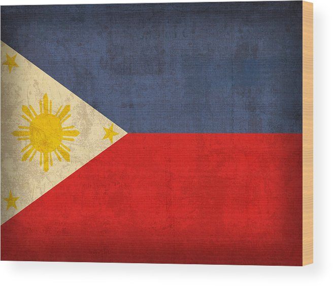 Philippines Wood Print featuring the mixed media Philippines Flag Vintage Distressed Finish by Design Turnpike