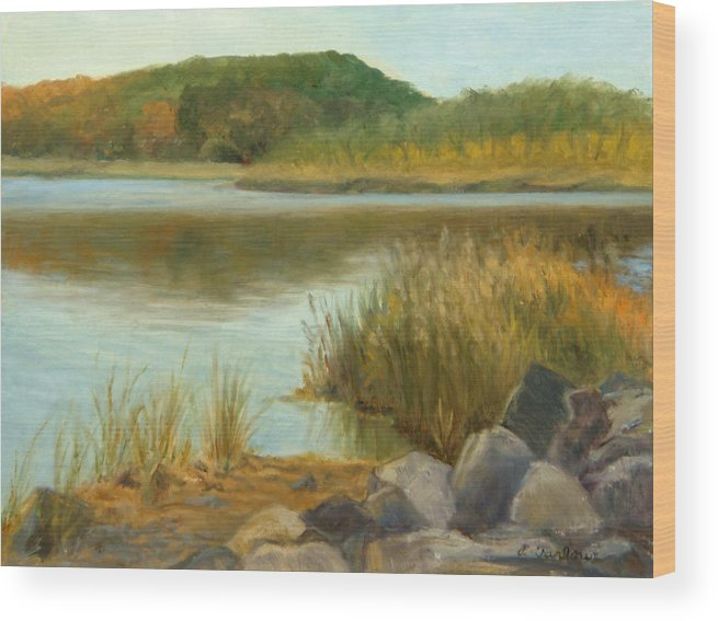 Landscape Wood Print featuring the painting Piermont Shoreline by Phyllis Tarlow