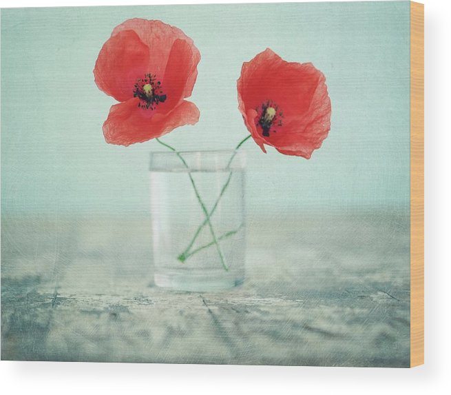 Bulgaria Wood Print featuring the photograph Poppies In A Glass, Still Life by By Julie Mcinnes